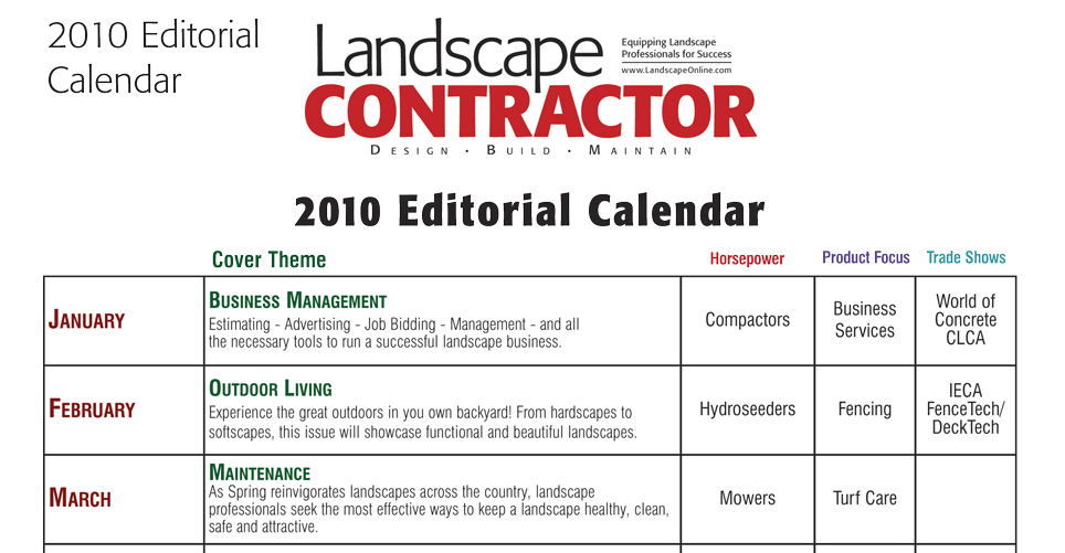 Here's an editorial calendar set by the month and sent to advertisers.